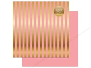 "Echo Park Collection Dots & Stripes Gold Foil Stripe Paper 12""x 12"" Pink"