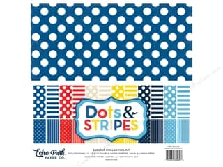 "scrapbooking & paper crafts: Echo Park Collection Dots & Stripes Summer Collection Kit 12""x 12"""