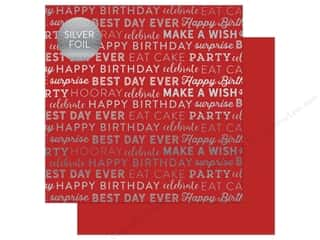 "scrapbooking & paper crafts: Carta Bella Collection Celebrate Paper 12""x 12"" Foil Red (25 pieces)"