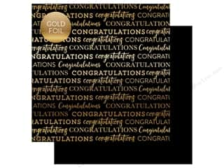 "Carta Bella Collection Congratulations Paper 12""x 12"" Foil Black (25 pieces)"