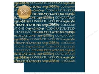 "scrapbooking & paper crafts: Carta Bella Collection Congratulations Paper 12""x 12"" Foil Navy (25 pieces)"