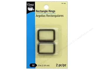 Dritz Rectangle Rings 1 in. 2 pc. Antique Brass