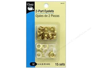 Dritz 2-Part Eyelets 15 pc. Matte Gold