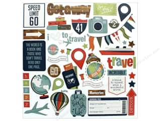 """Photo Play Collection Boarding Pass Sticker Element 12""""x 12"""""""