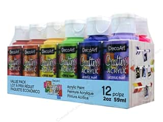 acrylic paint: DecoArt Crafter's Acrylic Paint Value Pack 12 pc. Brights