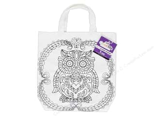 Tulip Color Me Canvas Tote Owl White
