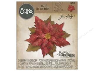 die cuts: Sizzix Die & Embossing Folder Tim Holtz Texture Fades Layered Tattered Poinsettia