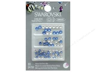 Cousin Swarovski Flatback Mix Crystal/Light Sapphire 80pc