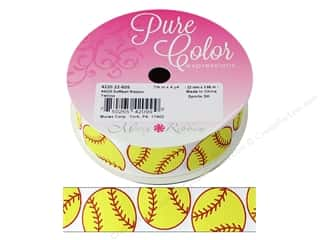 "Morex Ribbon Grosgrain Sports Softball 7/8""x 4yd Yellow"