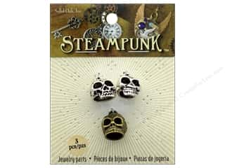 beading & jewelry making supplies: Solid Oak Charm Steampunk Skulls With Hanging Loops