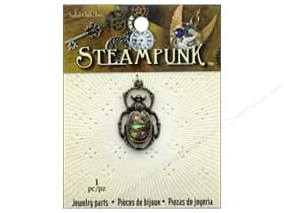 beading & jewelry making supplies: Solid Oak Charm Steampunk Beetle With Paua Shell