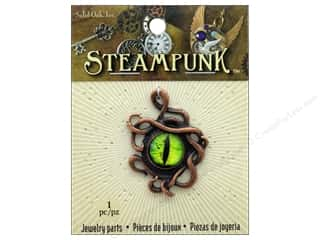 beading & jewelry making supplies: Solid Oak Pendant Steampunk Octopus With Dragon Eye