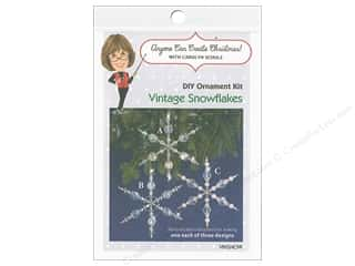 craft & hobbies: Solid Oak Kit Beaded Ornament Vintage Snowflakes