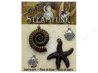 Solid Oak Charm Steampunk Sealife 4pc