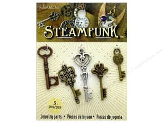 beading & jewelry making supplies: Solid Oak Charm Steampunk Medium Keys 5 pc