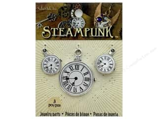 beading & jewelry making supplies: Solid Oak Charm Steampunk Clock 2 3pc
