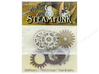 beading & jewelry making supplies: Solid Oak Charm Steampunk Gears 9 pc