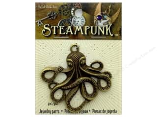 Solid Oak Pendant Steampunk Octopus Antique Brass