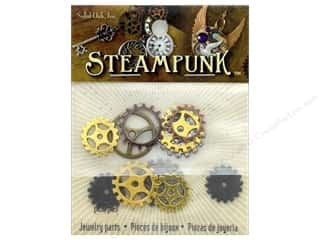 beading & jewelry making supplies: Solid Oak Charm Steampunk Small Gears
