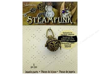 beading & jewelry making supplies: Solid Oak Pendant Steampunk Tea Ball Antique Gold