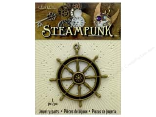 beading & jewelry making supplies: Solid Oak Pendant Steampunk Ship's Wheel Antique Gold