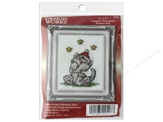 "yarn & needlework: Design Works Cross Stitch Kit 2""x 3"" Grey Cat"