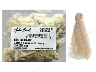 "John Bead Tassel 1"" Cotton Ivory 20pc"