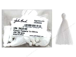 "John Bead Tassel 1"" Cotton White 20pc"
