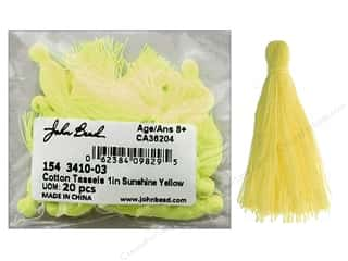 "craft & hobbies: John Bead Tassel 1"" Cotton Sunshine Yellow 20pc"