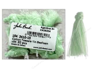 "John Bead Tassel 1"" Cotton Seafoam 20pc"