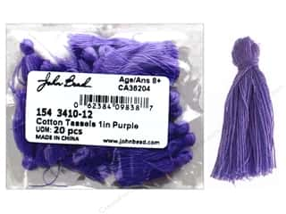 "John Bead Tassel 1"" Cotton Purple 20pc"