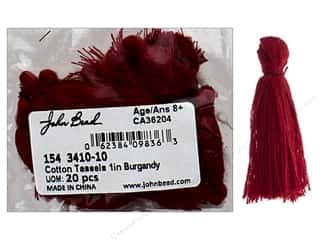 "John Bead Tassel 1"" Cotton Burgundy 20pc"
