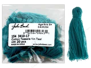 "John Bead Tassel 1"" Cotton Teal 20pc"