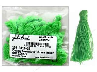 "John Bead Tassel 1"" Cotton Grass Green 20pc"