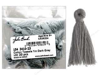 "John Bead Tassel 1"" Cotton Grey 20 pc"