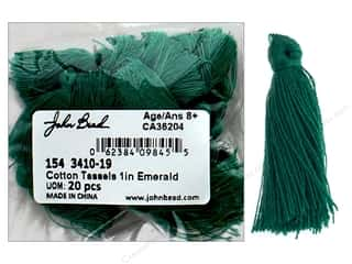 "craft & hobbies: John Bead Tassel 1"" Cotton Emerald 20pc"