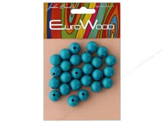 beading & jewelry making supplies: John Bead Wood Bead Round 12mm Turquoise