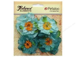 Petaloo Botanica Collection Ruffled Peony Teal 4pc