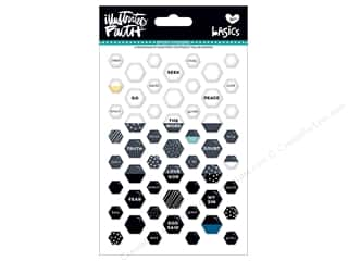 Bella Blvd Collection Illustrated Faith Basics Sticker Epoxy Mix Mini Hexies Black Eye Pea