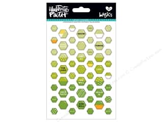 scrapbooking & paper crafts: Bella Blvd Collection Illustrated Faith Basics Sticker Epoxy Mix Mini Hexies Olive You