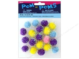 craft & hobbies: Darice Pom Poms 1 in. Iridescent Spring 20 pc.