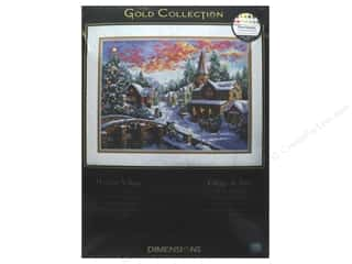 "yarn & needlework: Dimensions Cross Stitch Kit Gold Collection 16""x 12"" Holiday Village"