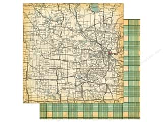 "Carta Bella Collection Are We There Yet Paper 12""x 12"" State Map (25 pieces)"