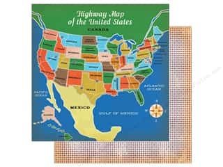 """Carta Bella Collection Are We There Yet Paper 12""""x 12"""" Highway Travel"""