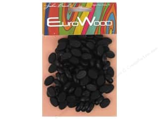 John Bead Wood Bead Flat Oval 8 x 12 mm Black Picture