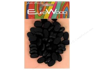 John Bead Wood Bead Flat Oval 10 x 15 mm Black