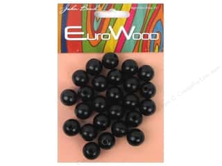 John Bead Wood Bead Round 12 mm Black