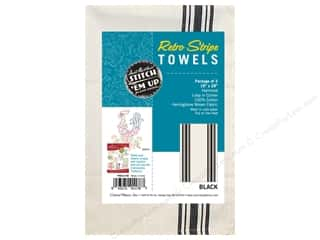 Aunt Martha's Towel Retro Herringbone Black 3pc