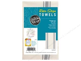 Aunt Martha's Towel Retro Stripe Gray 3pc