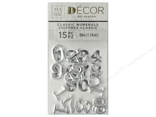 Darice Clock Numbers Metal Clarendon Brushed Silver